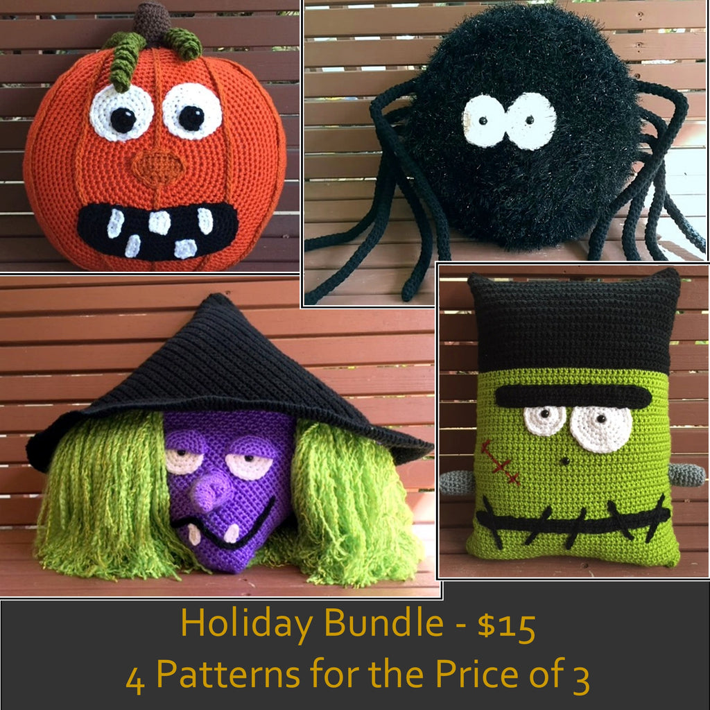 Halloween Pillow Crochet Pattern Bundle by Sharpin Designs