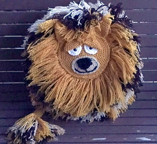 Lion Crochet Pillow Pattern by Sharpin Designs
