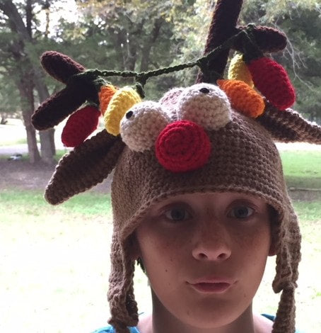 Holliday Head Reindeer Crochet Hat Pattern by Sharpin Designs