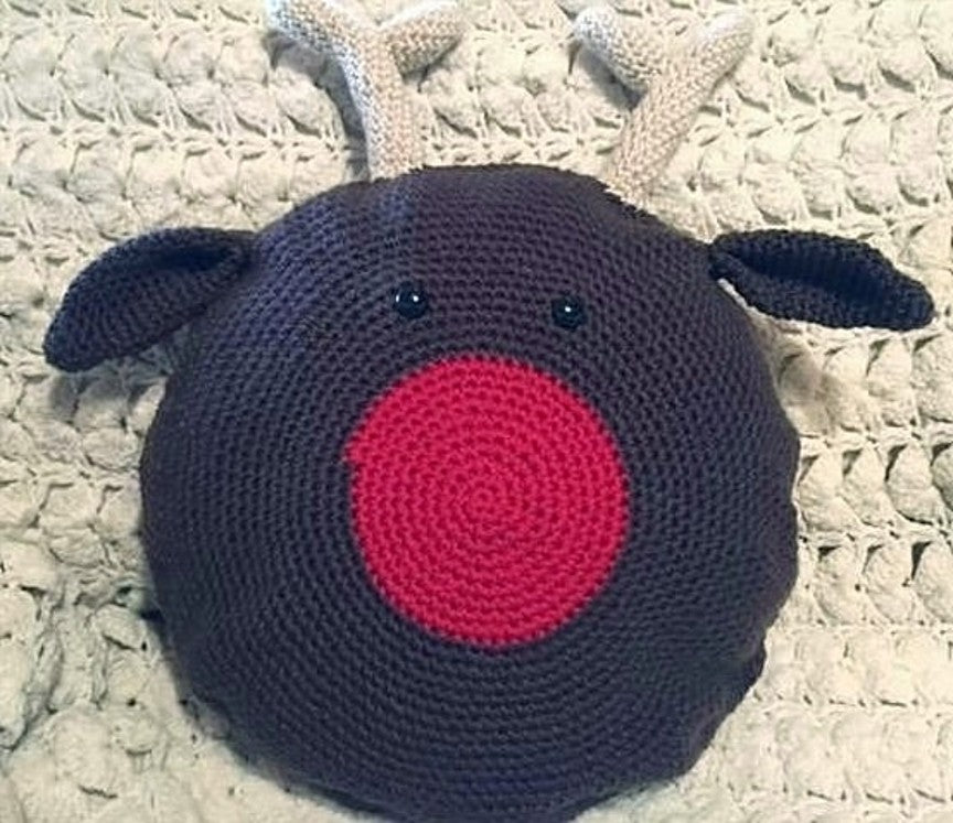 Rudolph Pillow Crochet Pattern by Sharpin Designs