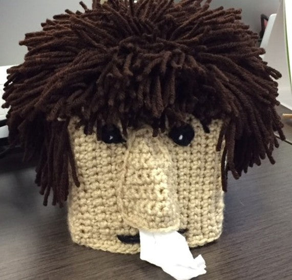 Sneezy Guy Tissue Box Cover Crochet Pattern by Sharpin Designs