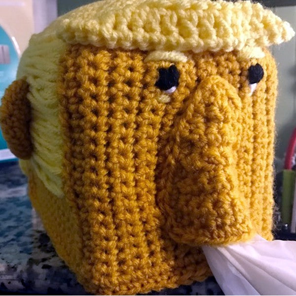 Trump Tissue Box Cover Crochet Pattern by Sharpin Designs