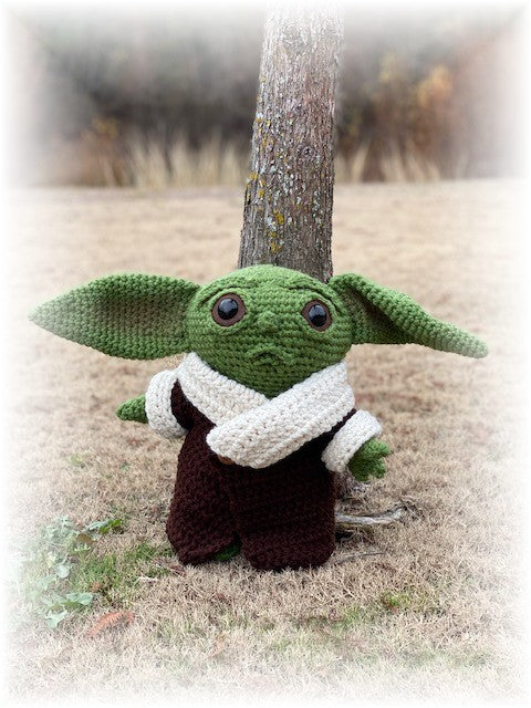 Baby Yoda crocheted by Sharpin Designs