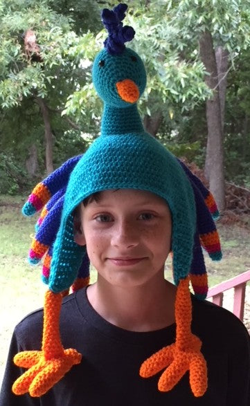 Birdbrain Peacock Hat Crochet Pattern by Sharpin Designs