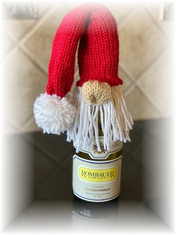 Knitted Gnome Wine Bottle Topper