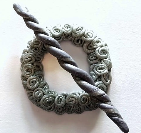 Silver Swirl Shawl Pin by Sharpin Designs