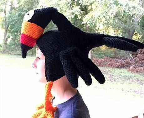 Birdbrain Toucan Hat Crochet Pattern by Sharpin Designs
