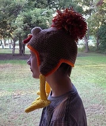 Birdbrain Turkey Trot Crochet Hat Pattern by Sharpin Designs