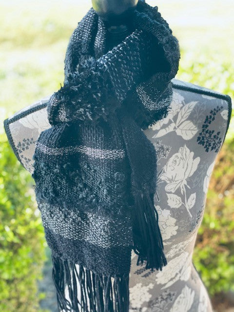 Handwoven Black and Silver Scarf by Sharpin Designs
