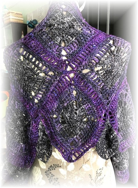 Square Dance Shrug Crochet Pattern by Sharpin Designs