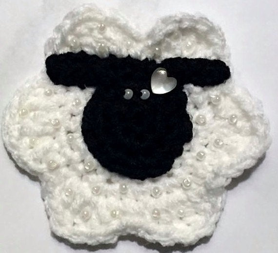 Crochet Beaded Sheep Applique Pattern