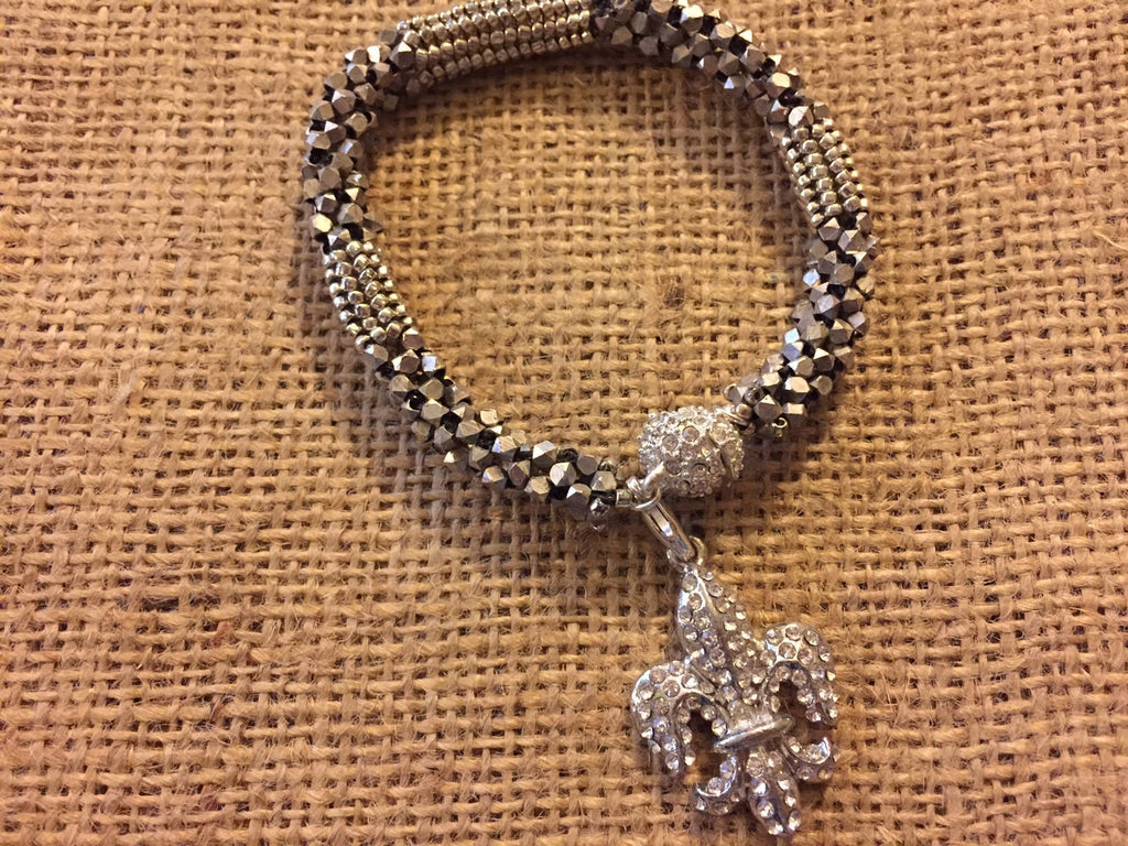 Beadwoven Bracelet with Fleur de Lis Charm and Magnetic Clasp