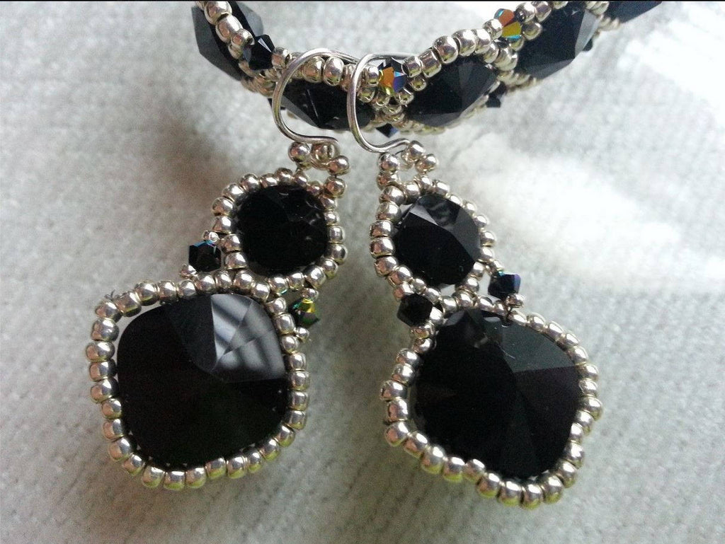 Black Crystal Beadwoven Earrings