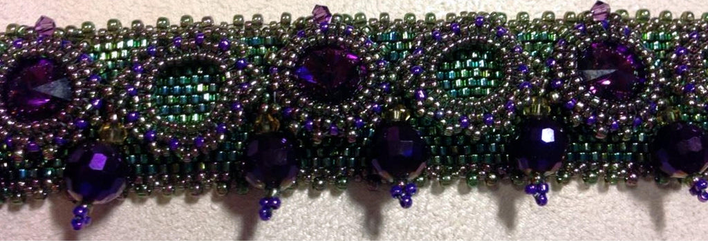 Purple and Green Beadwoven Bracelet