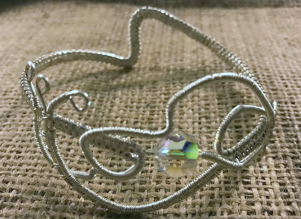 Wire Wrapped Bracelet with Silver Wire and AB Round Crystal