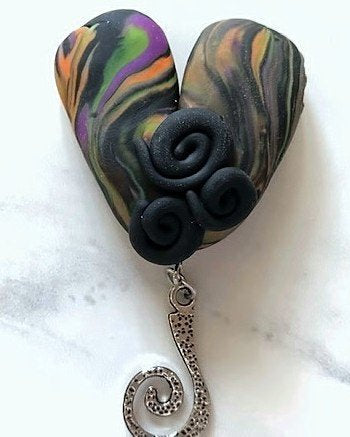 Portuguese Knitting Pin- Magnetic - Made for Portuguese Knitting -Marbled Heart
