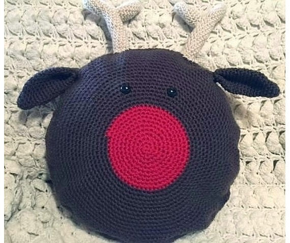 Crochet Rudolph Reindeer Pillow Pattern
