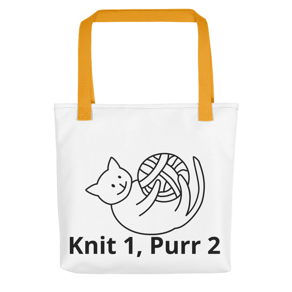 Knit 1, Purr 2 Tote Bag