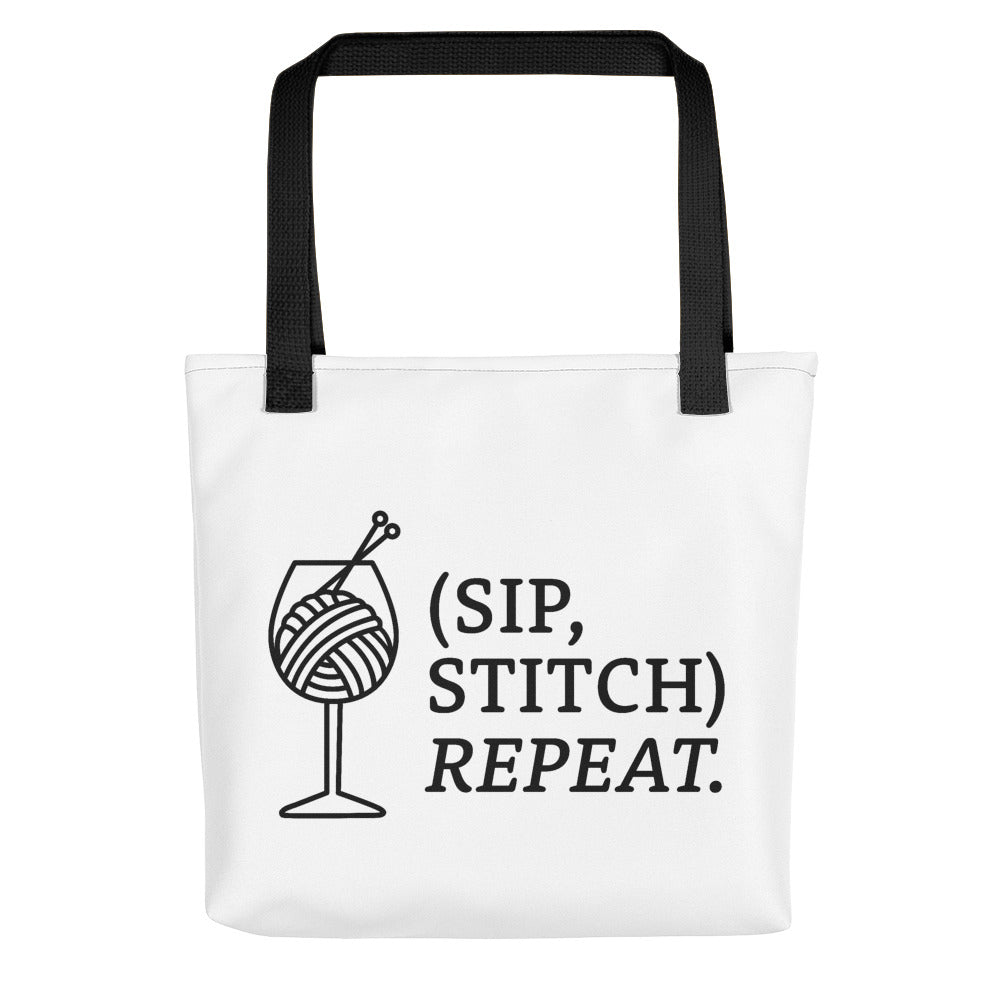 Sip, Stitch, Repeat Tote Bag