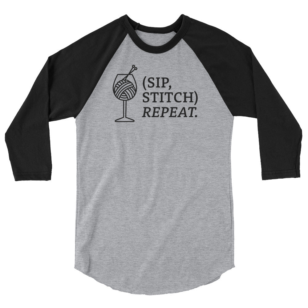 Sip, Stitch, Repeat 3/4 sleeve raglan shirt