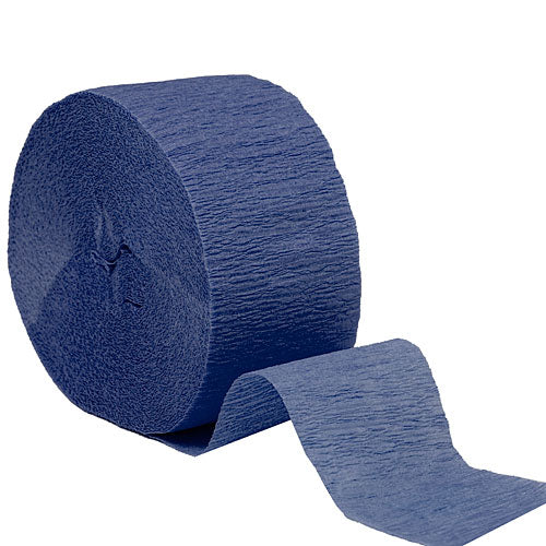 "Navy Blue Crepe Streamers, Roll, 1.75""X81'"