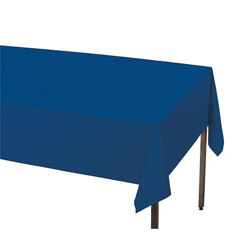 "Navy Blue Plastic Table Cover, Each, 54"" X 108"""