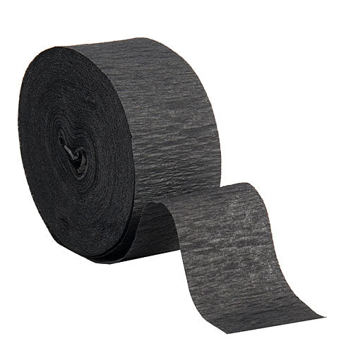 "Black Crepe Streamers, Roll, 1.75""X500'"