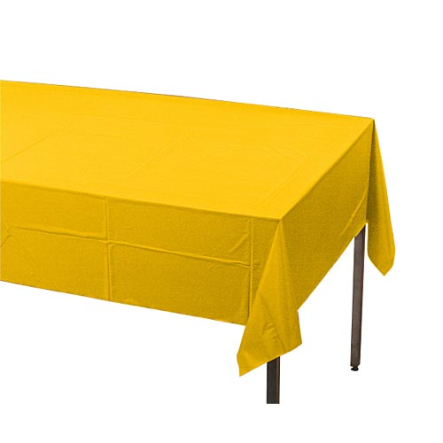 "School Bus Yellow Plastic Table Cover, Each, 54"" X 108"""