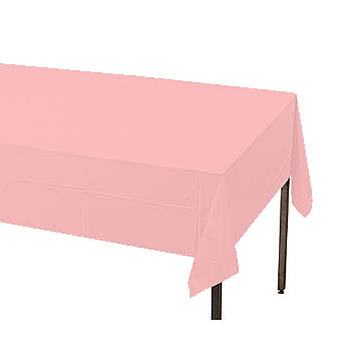 "Classic Pink Plastic Table Cover, Each, 54"" X 108"""