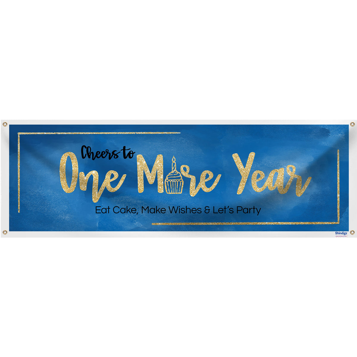 "Blue Watercolor Modern Birthday Banner, 18"" X 54"""