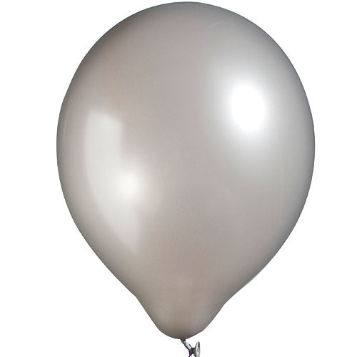 Silver Latex Balloons Metallic, Pkg/12, 11""