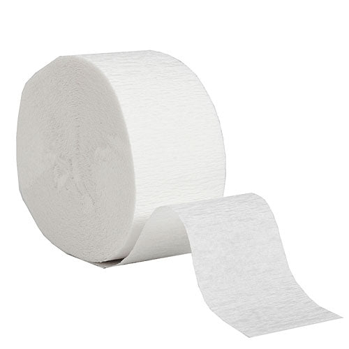 "White Crepe Streamers, Roll, 1.75""X81'"