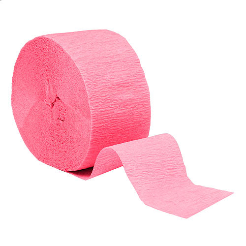 "Candy Pink Crepe Streamers, Roll, 1.75""X81'"