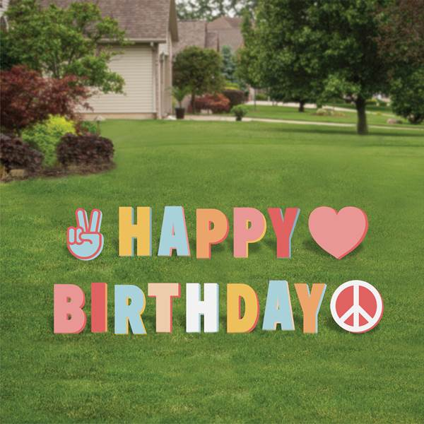 Peace, Love, Party Yard Sign Expression, Set/16