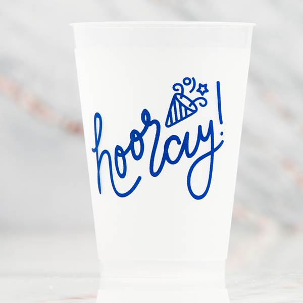 Reusable Hooray Frosted Cups 16 Ounce pkg/10