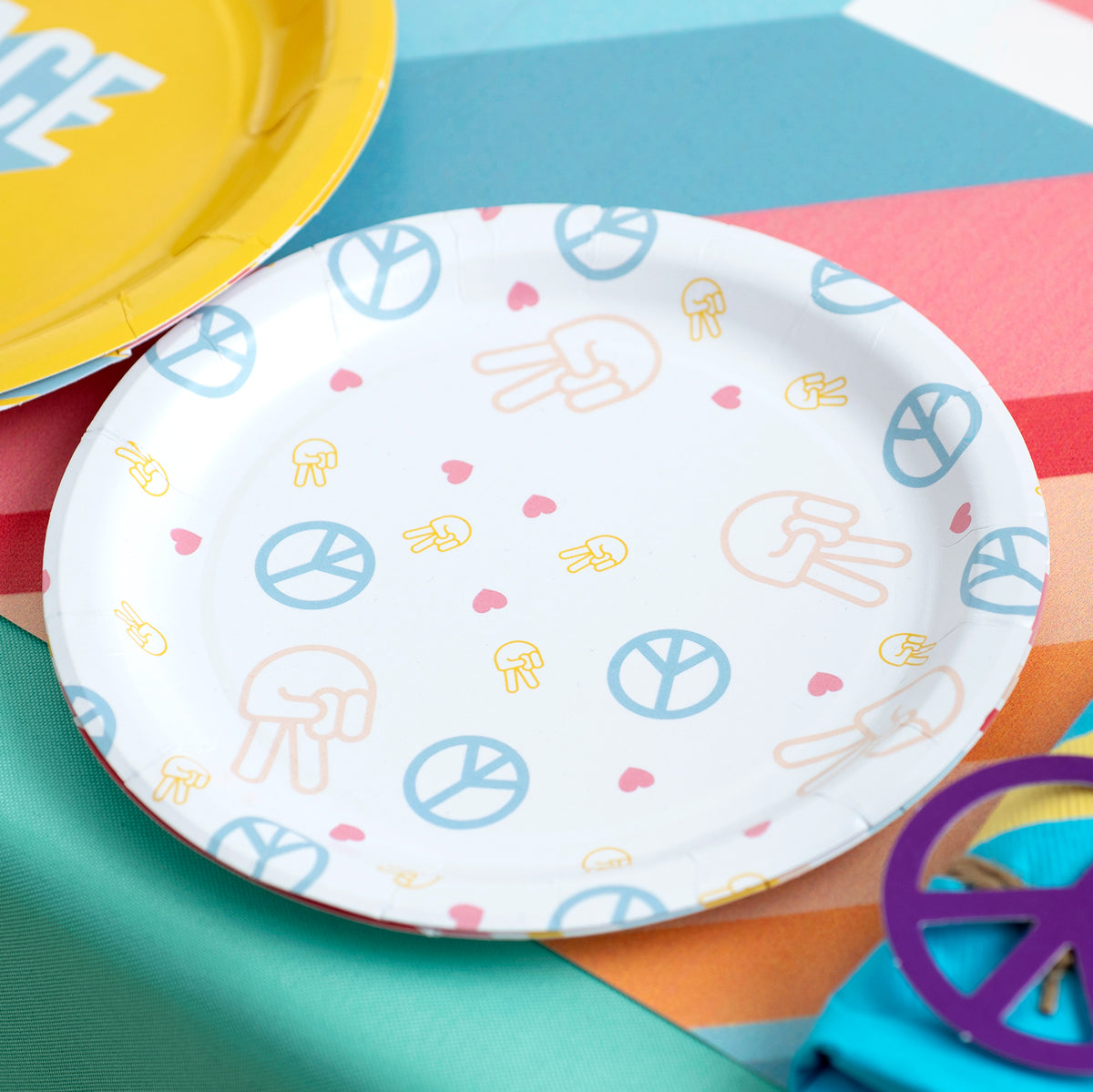 Peace, Love, Party Dessert Plates, Pkg/8, 7""