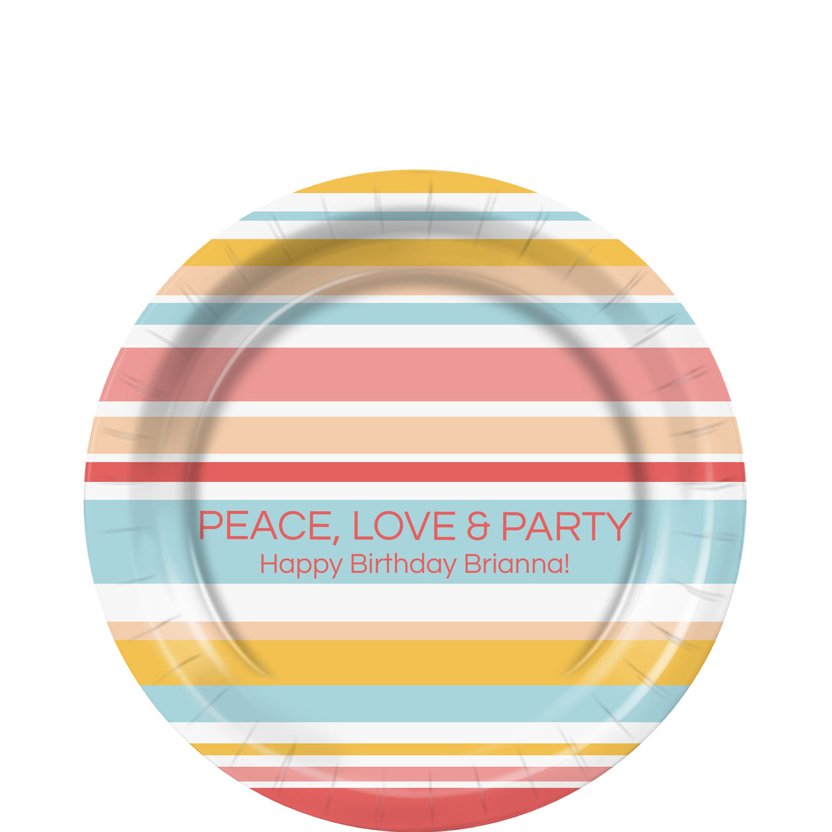 Peace, Love, Party Personalized Dessert Plates, Pkg/8
