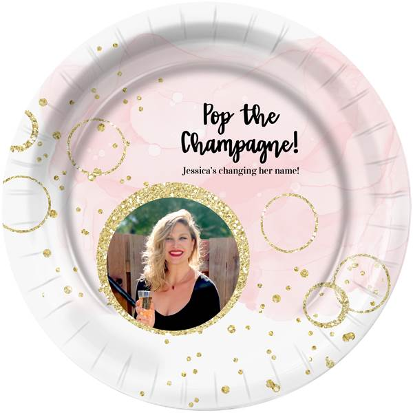Bubbly Bash Personalized Dinner Plates, Pkg/8