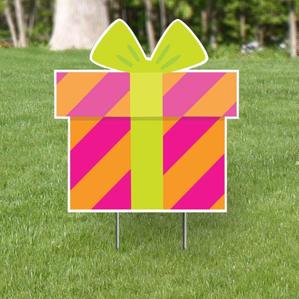 Poppin' Pink Present Yard Sign Expression Icon, 1'10""
