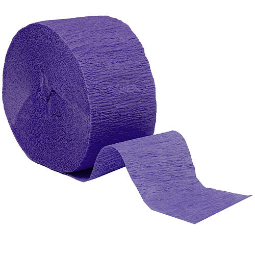 "Purple Crepe Streamers, Roll, 1.75""X81'"