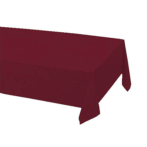 "Burgundy Plastic Table Cover, Each, 54"" X 108"""