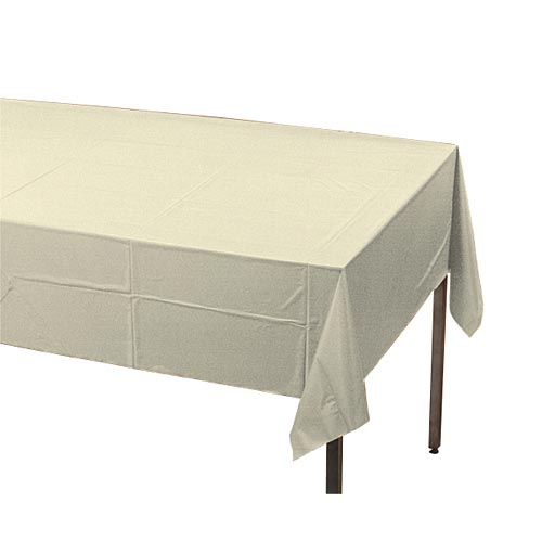 "Ivory Plastic Table Cover, Each, 54"" X 108"""