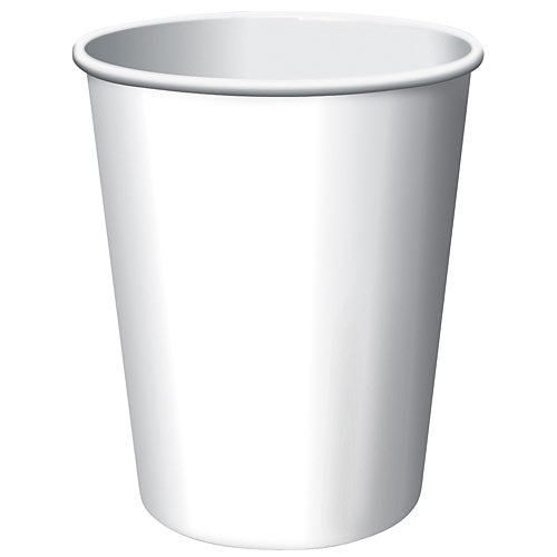 White Solid Color Paper Cups, 9 oz