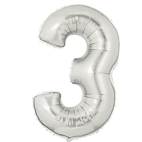 Silver Number 3 Mylar Balloon, 40""