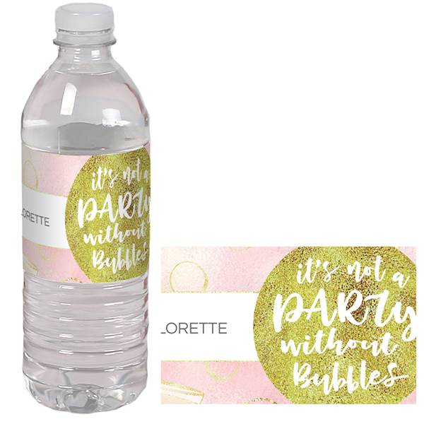 Bubbly Bash Personalized Water Bottle Label, Each