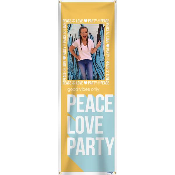"Peace, Love, Party Personalized Banner, 104"" x 36"""