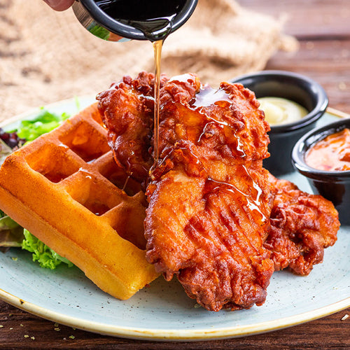 Har Cheong Fried Chicken with Waffles