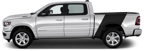 Dodge RAM 1500 2019 Bedside Banner Rally Stripes on Vehicle
