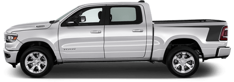 Dodge RAM 1500 2019 Rear Bedside Hockey Stripes on Vehicle