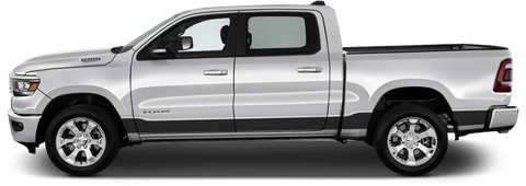 Dodge RAM 1500 2019 Rocker Panel Stripes on Vehicle